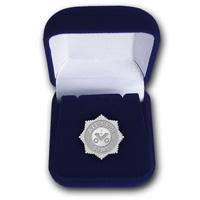 Юбилейный серебряный знак Акционерной компании АЛРОСА в футляре