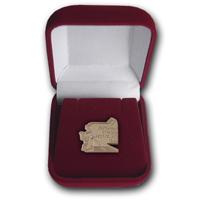 Золотой юбилейный нагрудный знак Дорожной отрасли республики Коми 90 лет в футляре