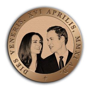 Памятная медаль в честь бракосочетания принца Уильяма и Кэтрин Миддлтон